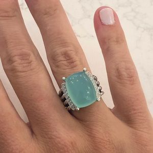David Yurman Wheaton Ring 16x12mm Aqua chalcedony